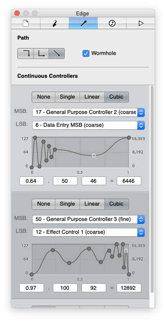 Screenshot showing the nodal edge editor with MIDI continuous controller curves.